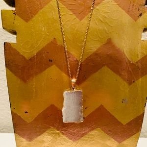 Anthropologie White Druzy Gold Tone Necklace 18""